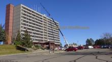 crane in front of North Star Apartments