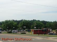 parking lot with fire trucks